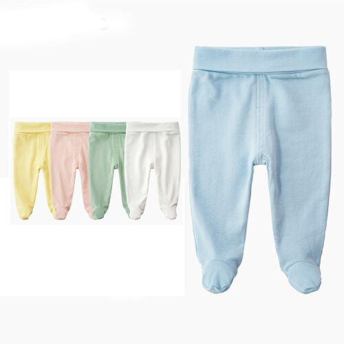 Baby Kids Cotton High Waist Footed Pant Casual Leggings Elastic Stocking Trouser