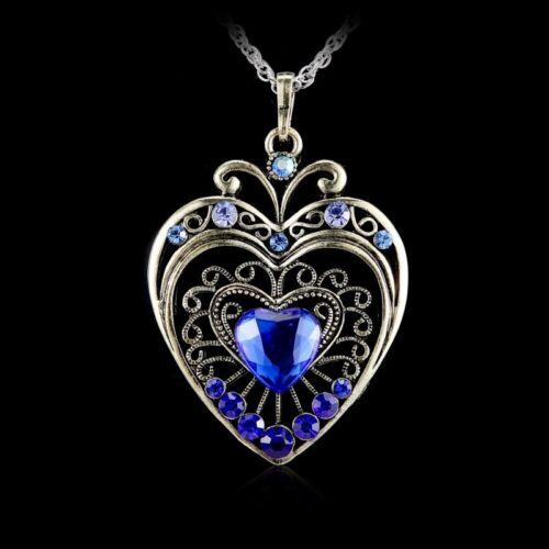 Retro  Crystal Heart Pendant Necklace Sweater Chain Rhinestone Gift New