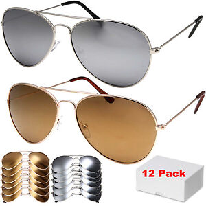 9a416fecb5 12 Pack Wholesale Lot of 12 Aviator STYLE Sunglasses Metal UV400 ...