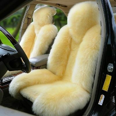 Genuine Australian Pair Sheepskin Fur Car 2 Front Seat Covers Set Universal M12Y