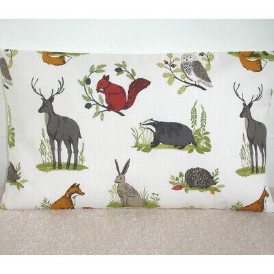 "16/""x12/"" Oblong Bolster Cushion Cover Fox Squirrel Stag Pheasants Owl Rabbit Tree"