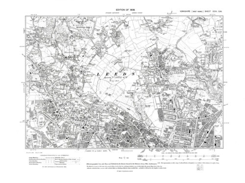 Yorkshire in 1909 Old Map of Leeds Repro 203 SW Chapel Allerton