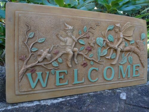 Homely-Vintage-Antique-Style-Gold-English-Stone-Fairy-039-s-Welcome-Garden-Plaque