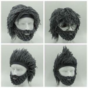 36b61ac6dda New Mens Boys Funny Wig Beard Hats Hobo Mad Caveman Winter Knit Warm ...
