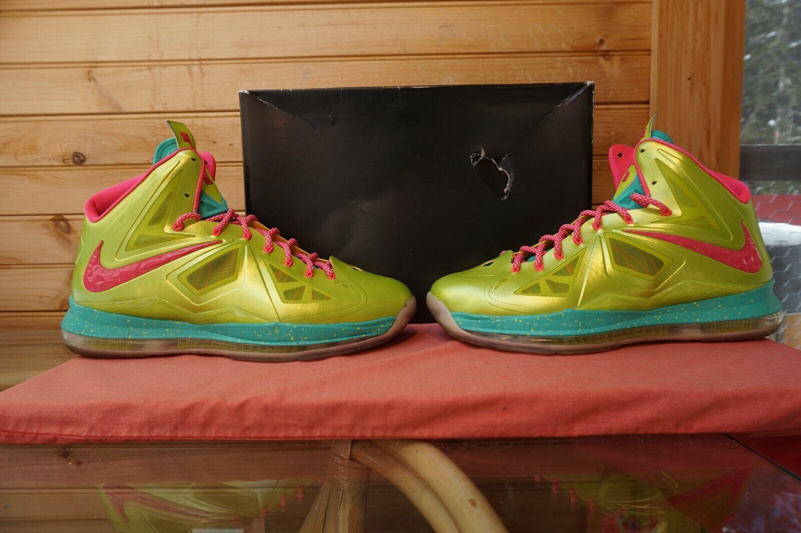 2013 Nike Lebron 10 ID  Tour Yellow Jade Green  Sz 12.5 (1145) 578346-992
