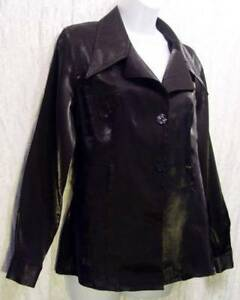 Shimmering-BLACK-Long-Sleeve-Button-Front-2-MUCH-LA-Dressy-Blouse-M
