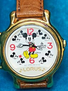 Vintage-Disney-Lorus-Musical-Mickey-Mouse-V422-0010Z0-Leather-Watch