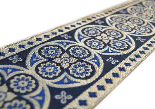 "Blue 3¾/"" wide 3 yds Long Vestment Ribbon Very Wide Jacquard Trim Metallic Gold"