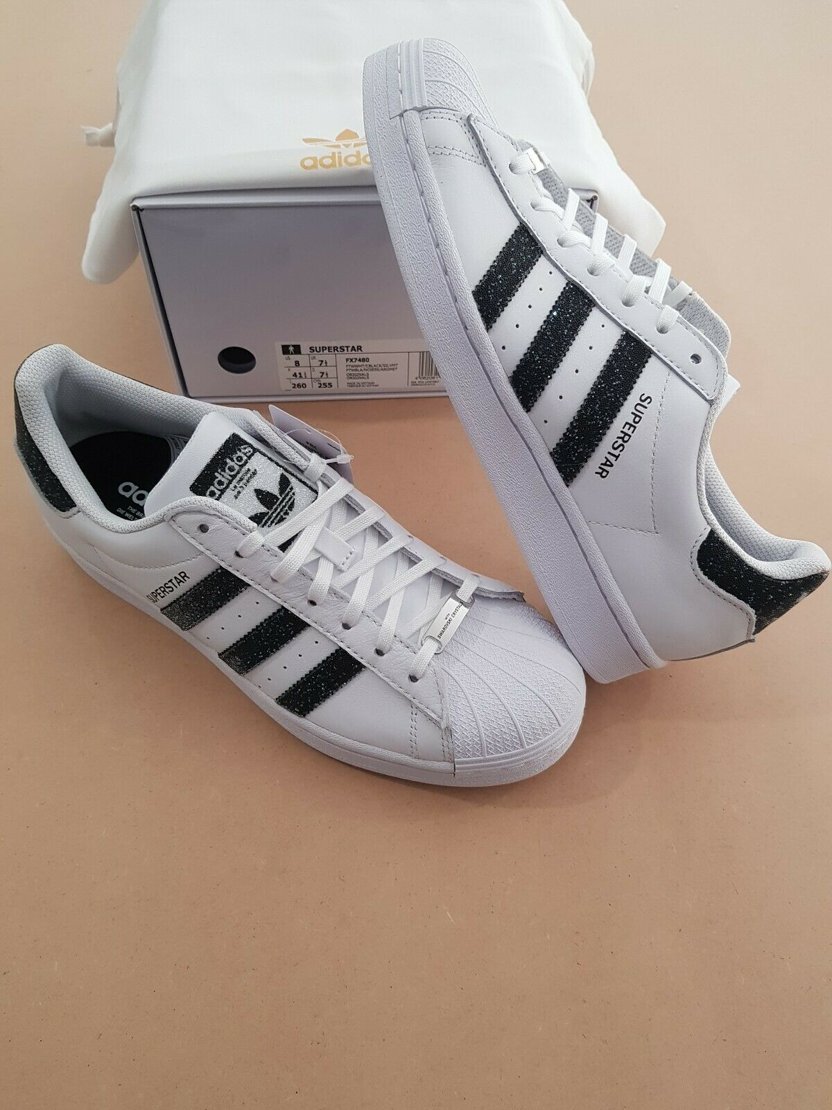 Adidas Superstar Swarovski Mens Sneakers Cloud White/Core Black FX7480 SIZE 8 US