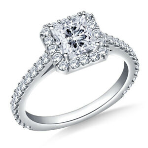 0.97 Ct Princess Moissanite Engagement Ring Solid 18K White Gold ring Size 9.5