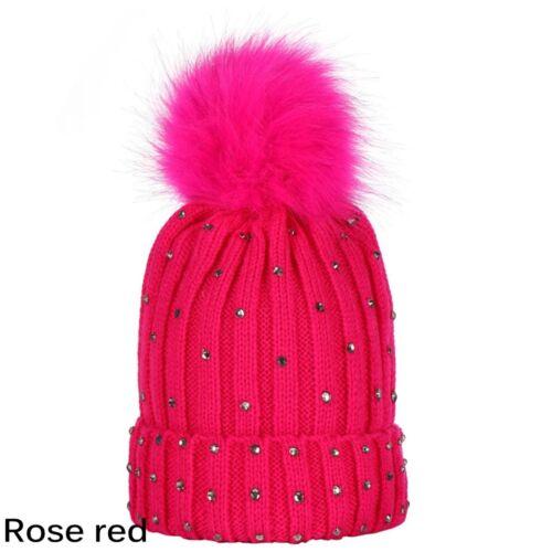 Hiver chaud Bébé Beanie Baby Bonnet tricoté Nouveau-né Chapeau Crystal Diamond fourrure Pom