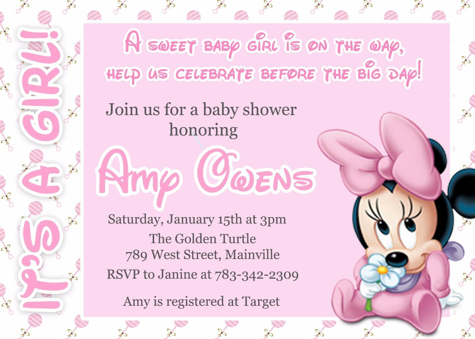 Minnie Mouse Baby Baby Baby Shower, Baby Girl, Minnie, Baby, Rosa, Girl, Invitation 48f8a4