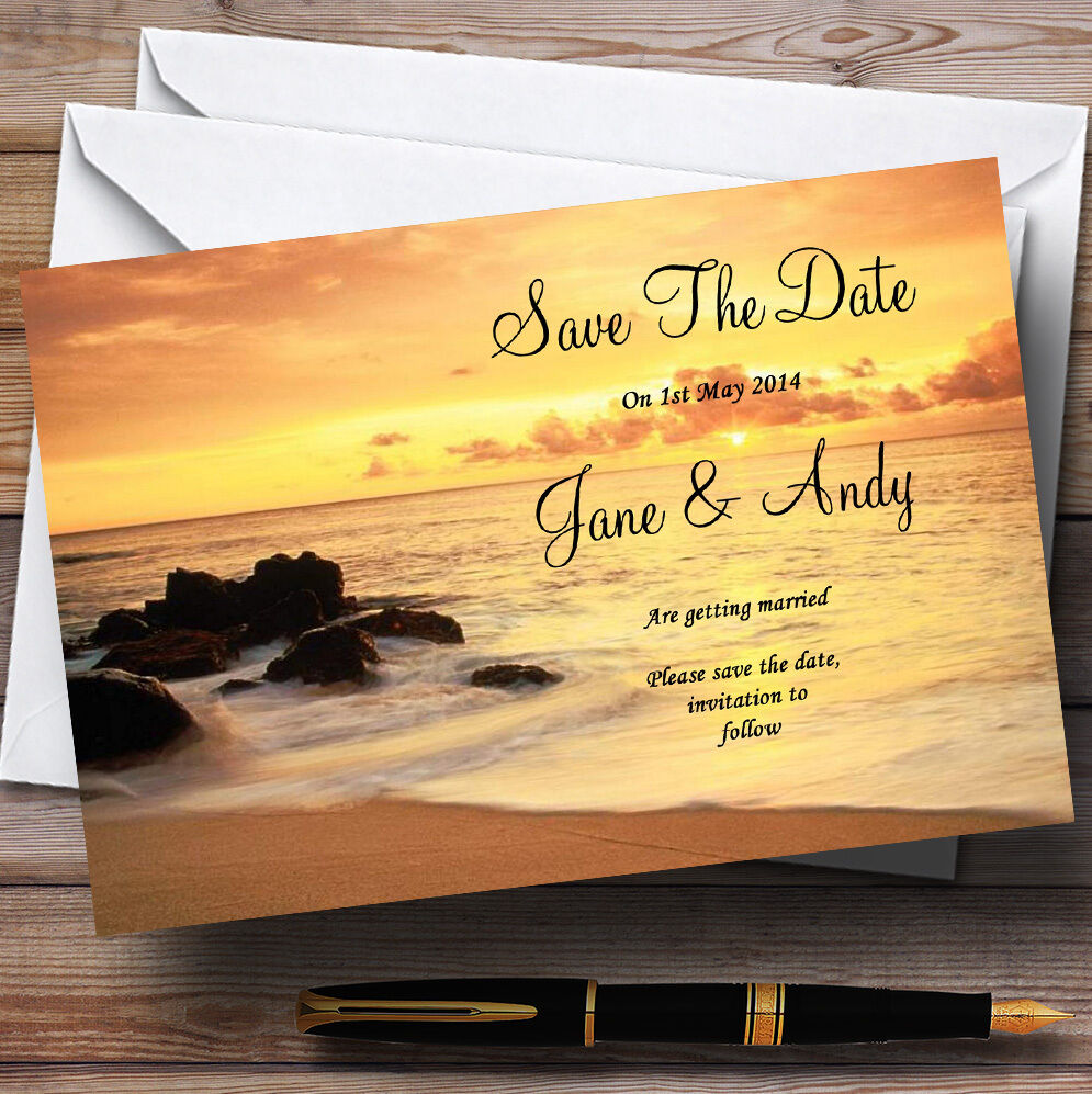 Beautiful Sunset Beach Abroad Personalised Wedding Save The Date Cards
