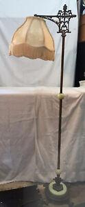 VTG Antique Cast Iron Brass JADITE FRINGE SHADE Floor Lamp Arm Light WORKS #035