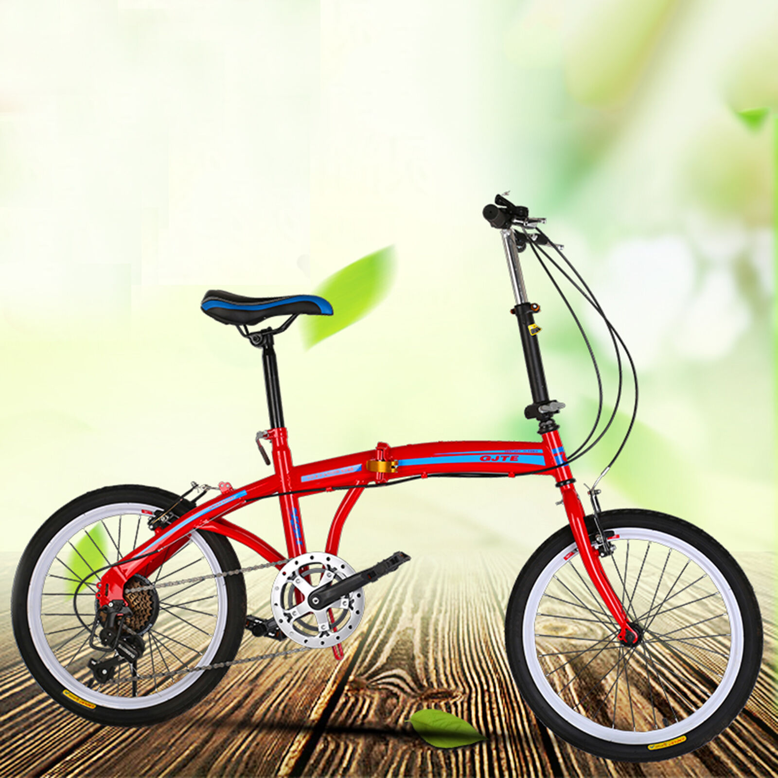 20 inch Red Foldable Bike ,7 Speed V-brakes Commuter Bicycle ,Carbon Steel UK