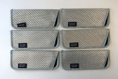Foster Grant Reading glasses Slim Soft Sleeve Cases Silver//Gray NEW Lot of 10
