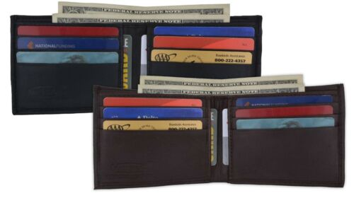 Genuine Leather Bifold Mens Wallet Credit Card Front Pocket ID Badge New