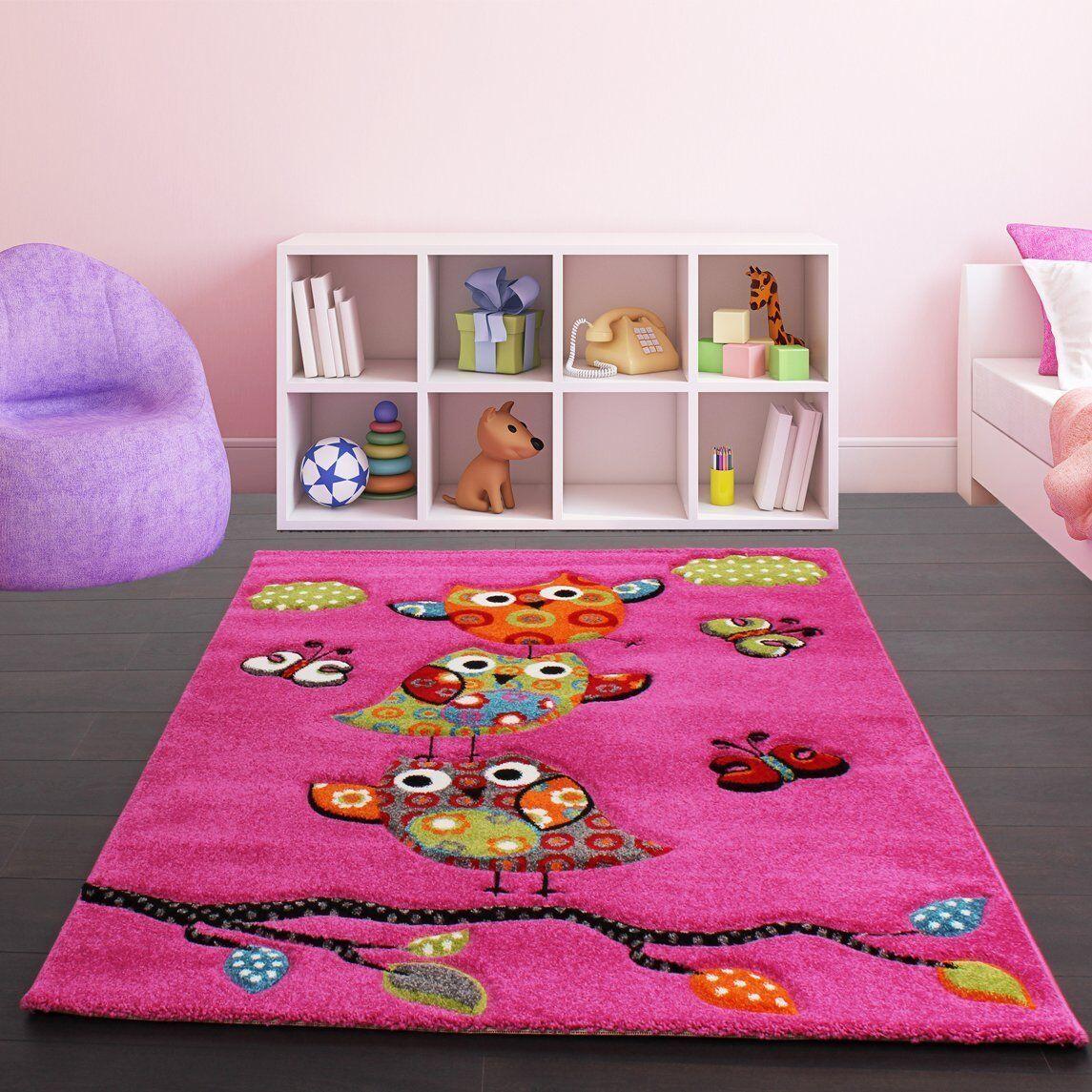 Tapis pour enfants Hibou rose Pépinière Tapis Bébé Filles Chambre Enfants Salle de jeux tapis