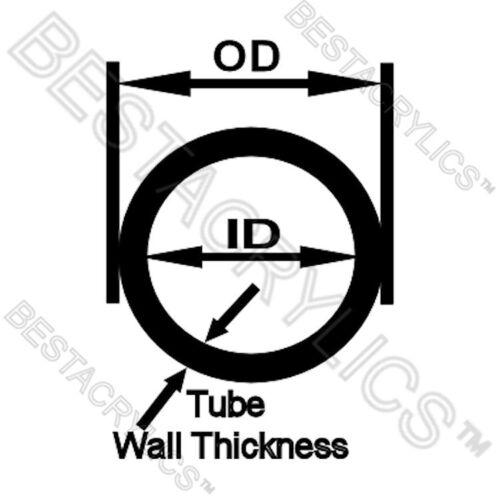 """CLEAR 1/"""" OD x 7//8/"""" ID x 12/"""" INCH LONG ACRYLIC PLEXIGLASS LUCITE THIN WALL TUBE"""