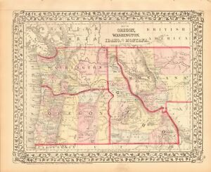 1874 Antique Map Usa Oregon Idaho Washington Montana Ebay