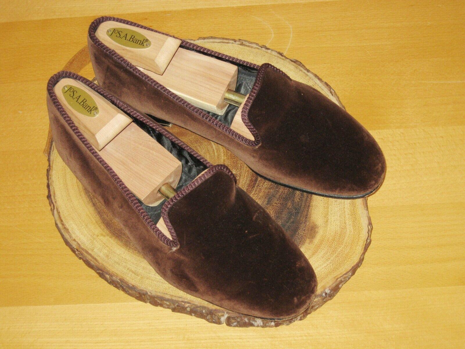 New New New & Lingwood Chocolate Brown Velvet Slippers Loafers 7.5 UK Handmade ENGLAND cb3927