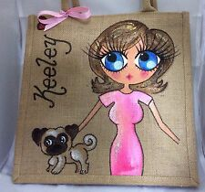 Personalised Handpainted Jute Celebrity Handbag Hand Bag  - With Pug