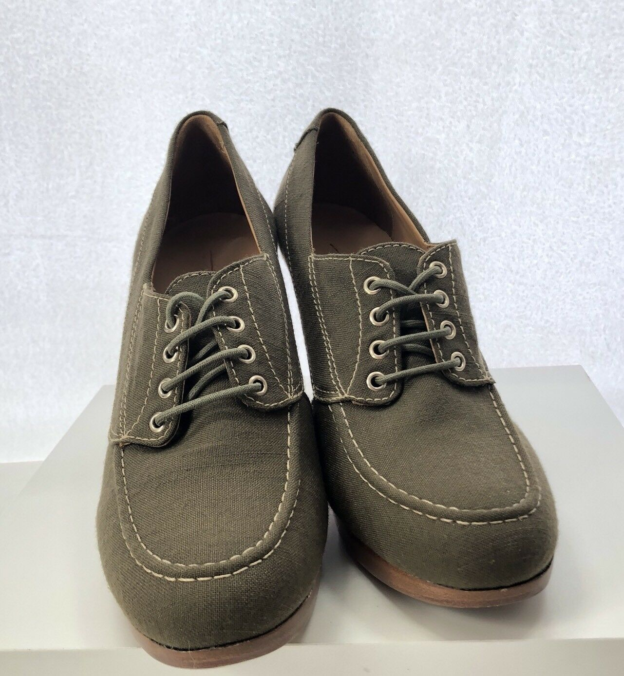 L.L. Bean Cursive Logo Oxfords 9.5 Damenschuhe Green Braun Linen 4