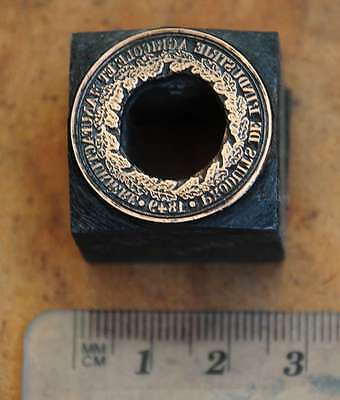 KRANZ 1849 Galvano Druckstock Druckplatte Medaille Lorbeerkranz letterpress