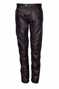 Jeans Napa Brown Biker Slim Style Motorcycle Trousers Classic Fit Leather Mens qRPcTvT