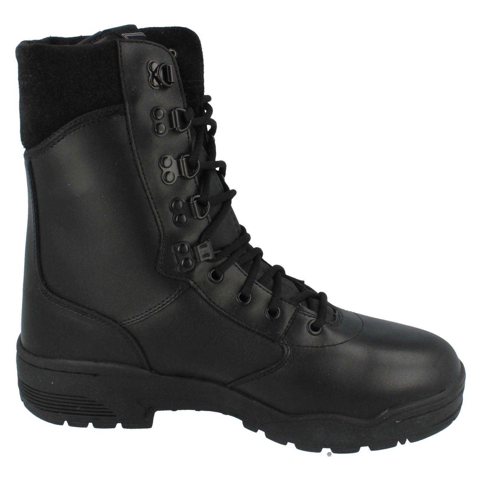 Magnum Cen Hombre Cuero Negro Puntera De Botas Acero Botas De De Combate Fuerzas armadas policiales a33a55