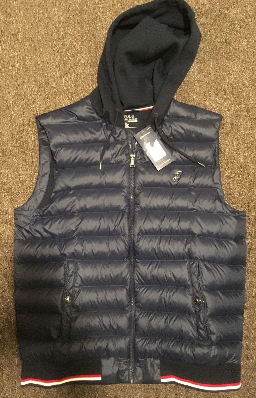 Polo Ralph Lauren Mens Down Vest Hoody Navy Size Medium