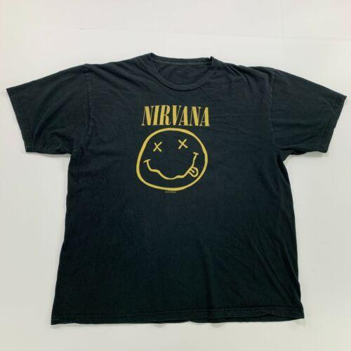 Mens Nirvana Tee Black Smile XL Band Tee