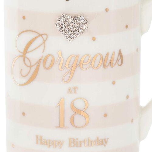 18th Cumpleaños Mad Puntos Rayas en Caja Taza Taza con texto y Diamante Corazón