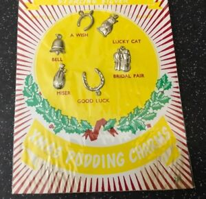 VINTAGE-CARD-SET-OF-6-STERLING-SILVER-XMAS-CHRISTMAS-PUDDING-CHARMS-UNOPENED