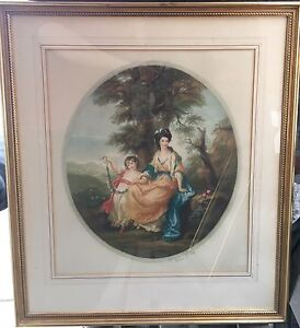 Signed-Arthur-Cox-Hand-Colored-Mezzotint-aft-Kauffmann-Painting-of-Lady-Rushout