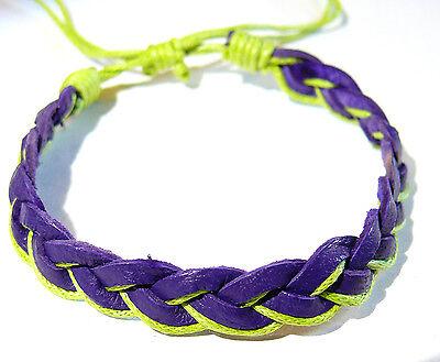 Bracelet Brésilien en Cuir Amitié Friendship Porte Bonheur Leather violet purple