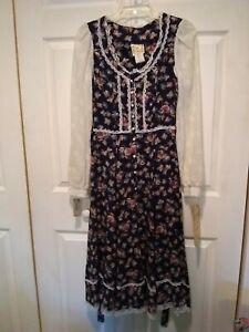 vintage 70s gunne sax dress blue calico floral lace corset
