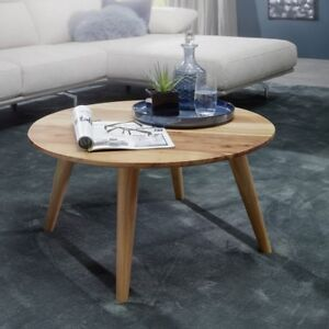 Finebuy Table Basse En Bois Massif Acacia Table Basse Ronde ø75 X 40