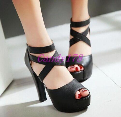 New Womens Peep Toe Platform Strap Cross High Heels Dress Sandals Shoes All Size