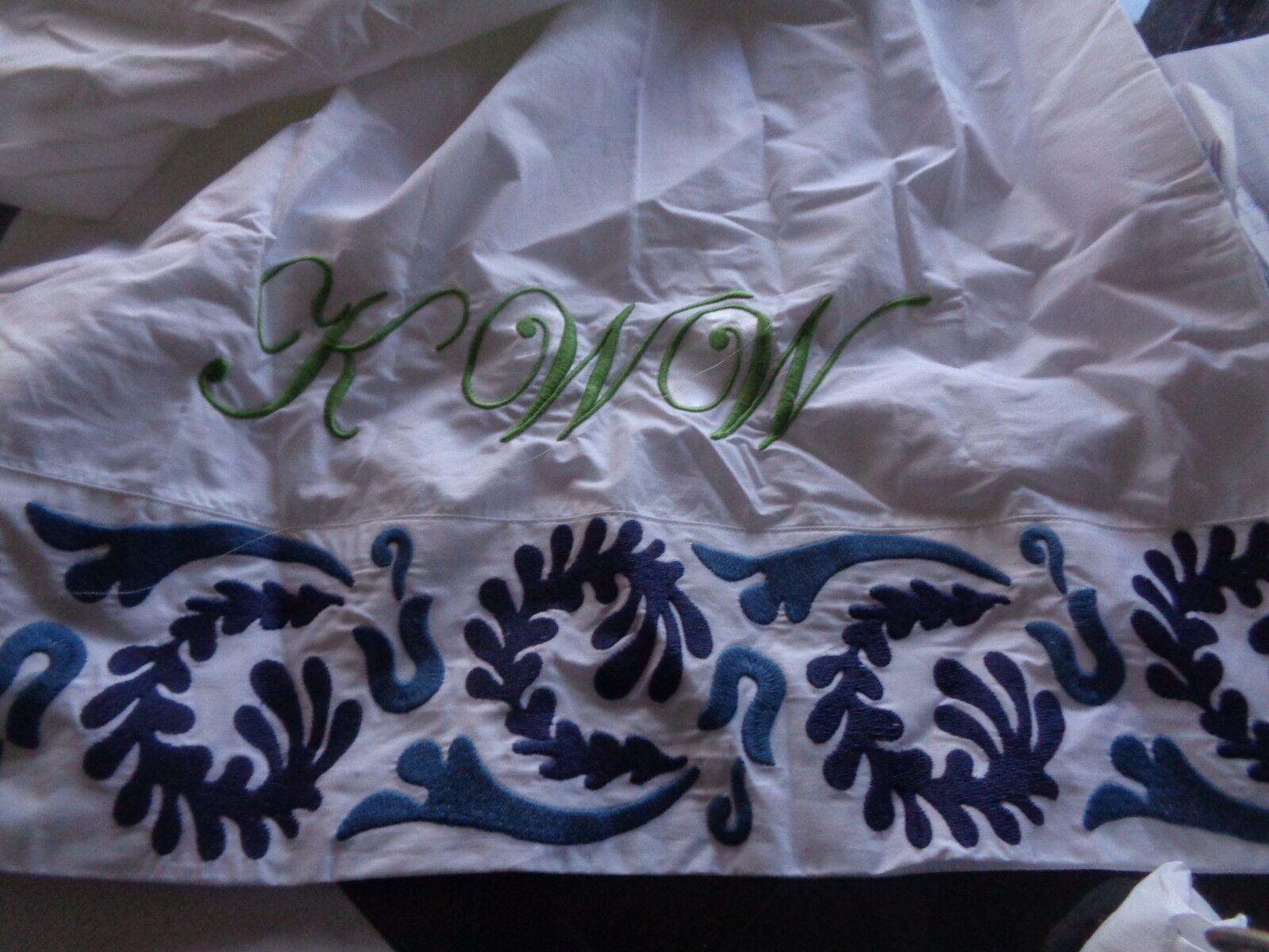 2 Williams Sonoma Home Simone Embroidered King pillowcases monogrammed KWW New
