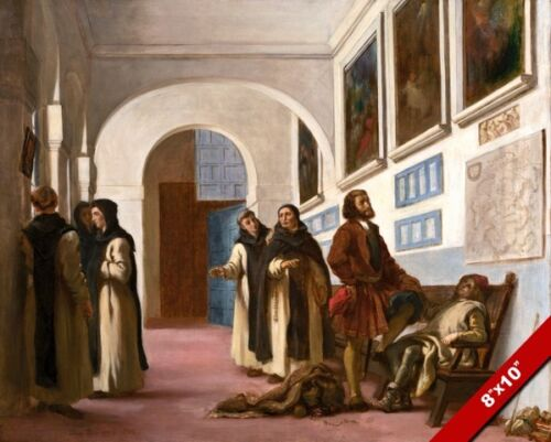 CHRISTOPHER COLUMBUS /& HIS SON AT LA RABIDA SPAIN PAINTING ART REAL CANVAS PRINT