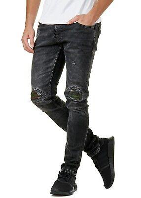 Details zu Burocs BR3586 Herren Jeans Hose Denim Slim Fit Destroyed Schwarz W29 36