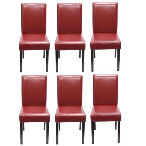 rot dunkle Beine 6x Esszimmerstuhl Stuhl Lehnstuhl Littau Leder