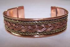 SOLID COPPER TWO TONE CUFFED HEALTH BRACELET men women ladies jewelry braclet