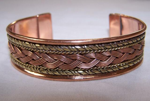 Solid Copper Two Tone Cuffed Health Bracelet Men Women Las Jewelry Braclet