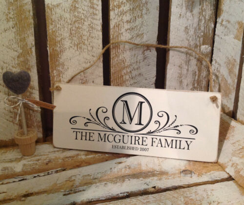 Shabby Chic Wedding Name Crest 001 Personalised Family Name Plaque 19X8