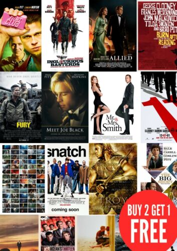 Brad Pitt Movie Film Posters in A0-A1-A2-A3-A4-A5-A6-MAXI sizes C361 Classic