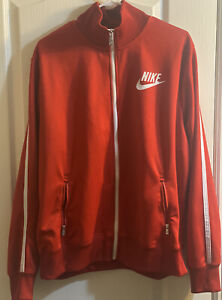 Nike-Track-Jacket-Men-039-s-XL-Red-White-Full-Zip-Jacket-EUC-Excellent-Condition