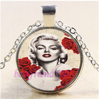 Marilyn Monroe Photo Cabochon Glass Tibet Silver Chain Pendant  Necklace