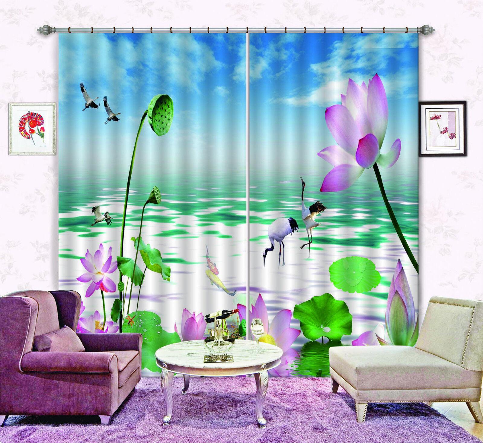 3d Lotus y grúa bloqueo foto cortina cortina de impresión sustancia cortinas de ventana